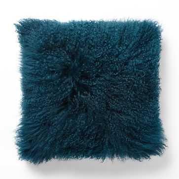 "Mongolian Lamb Pillow Cover, 16""x16"", Blue Teal - West Elm"
