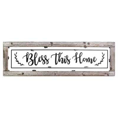 Bless This Home Framed Enamel Sign Wall Decor, Wood White Black - Home Depot