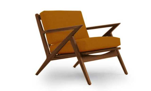 Yellow Soto Mid Century Modern Apartment Chair - Cordova Amber - Walnut - Joybird