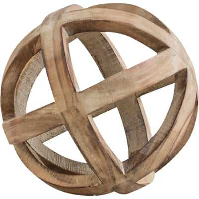 Brown Decorative Wood Ball Sculpture - Birch Lane