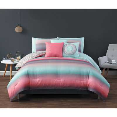 Geneva Home Fashion Cypress Biab 8-Piece Coral and Blue Twin Comforter, Pink/Blue - Home Depot