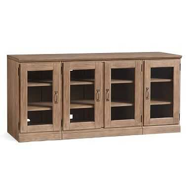 Printer's Large Glass Cabinet Media Stand (2 Glass Door Ped, 1 Double Glass Door Ped, 1 Quad Top) - Pottery Barn