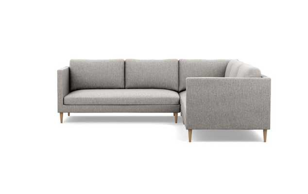 Oliver Corner Sectional with Earth Fabric and Natural Oak legs - Interior Define