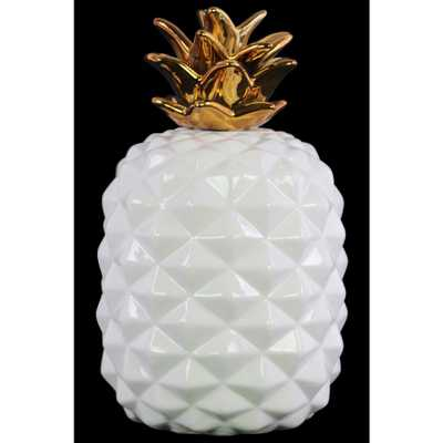 13.5 in. H Pineapple Decorative Figurine in White, Gold Gloss Finish - Home Depot