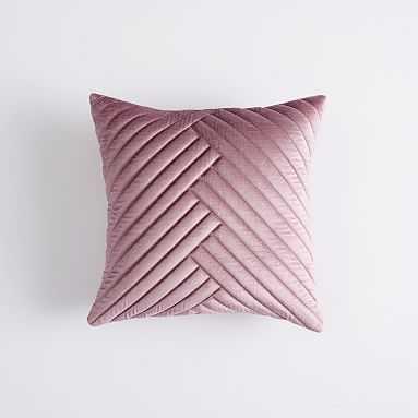 Velvet Channel Pillow Cover, 16x16, Mauve Blush - Pottery Barn Teen