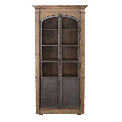 Homefare Metal Door Light Oak Display Cabinet, Brown - Home Depot