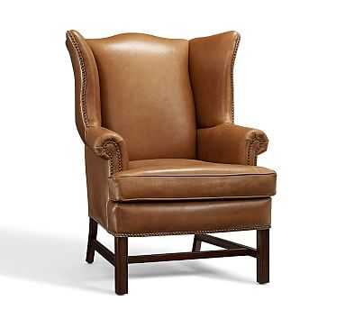 Thatcher Leather Armchair, Polyester Wrapped Cushions, Toffee - Pottery Barn
