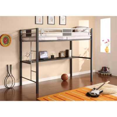 Silver Screen Twin Metal Loft Bed, Black - Home Depot