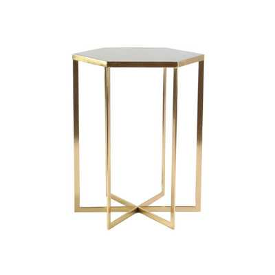 White Hexagonal Accent Table with Gold Rim, Multi-Colored - Home Depot