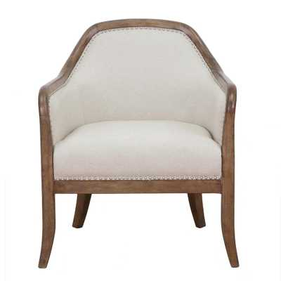 Home Meridian Beige Farmhouse Style Accent Chair - Home Depot