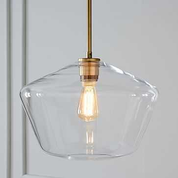 Sculptural Glass Pendant Canopy PLUG IN Pendant Brushed Brass Damp Large Geo Clear - West Elm