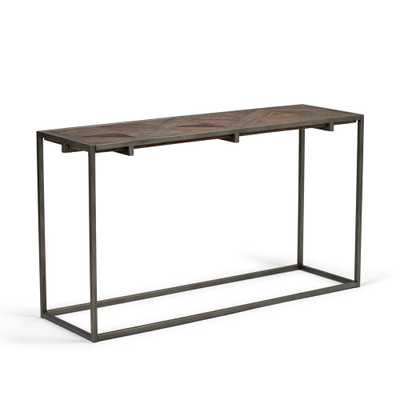 Avery Distressed Java Brown Wood Inlay Console Sofa Table - Home Depot