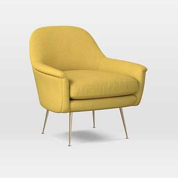 Phoebe Chair, Poly, Basket Slub, Dark Horseradish, Brass - West Elm