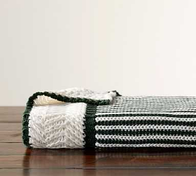 Dumont Stripe Throw, 50x60 Inches, Green - Pottery Barn