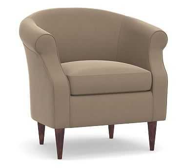 SoMa Lyndon Upholstered Armchair, Polyester Wrapped Cushions, Performance Plush Velvet Taupe - Pottery Barn