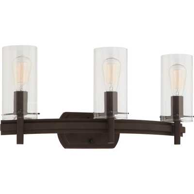 Volume International Regina 3-Light 8 in. Antique Bronze Indoor Bathroom Vanity Wall Sconce or Wall Mount with Clear Glass Cylinder Shades - Home Depot