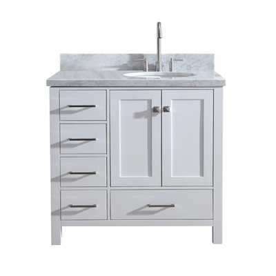 Ariel Cambridge 37 in. Bath Vanity in White with Marble Vanity Top in Carrara White with White Basin - Home Depot