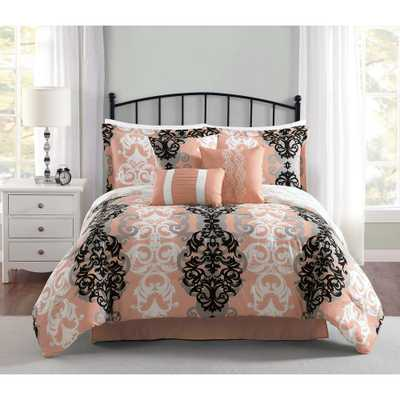 Downton 7-Piece Reversible Coral Queen Comforter Set, Oranges/Peaches - Home Depot