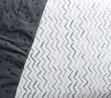 Organic Finley Chevron Crib Fitted Sheet, Crib Fitted, Blue - Pottery Barn Kids