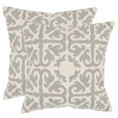 Moroccan Chainstitch Pillow (2-Pack), Light Grey - Home Depot