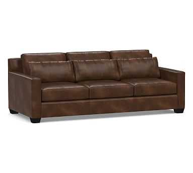 York Deep Seat Square Arm Leather Grand Sofa, Down Blend Wrapped Cushions, Vintage Cocoa - Pottery Barn