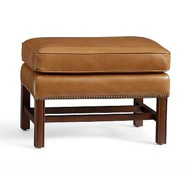 Thatcher Leather Ottoman, Polyester Wrapped Cushions, Toffee - Pottery Barn