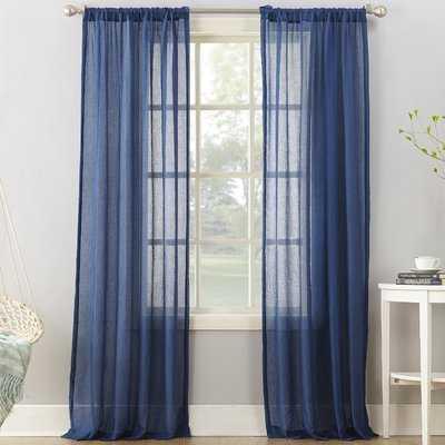 Leland Solid Semi-Sheer Rod Pocket Single Curtain Panel - Birch Lane