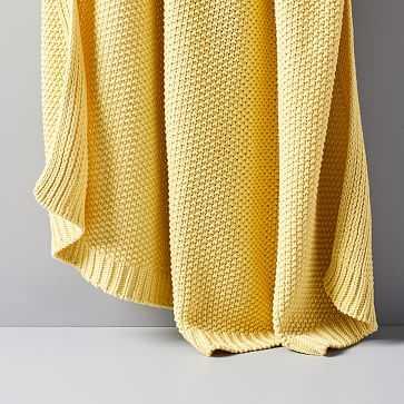 "Cotton Knit Throw, Yellow Stone, 50""x60"" - West Elm"