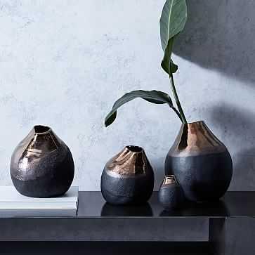 "Black Metallic Vase, 10"" - West Elm"