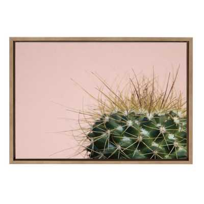 """Sylvie """"Cactus 1"""" by F2Images Framed Canvas Wall Art, Gold - Home Depot"""