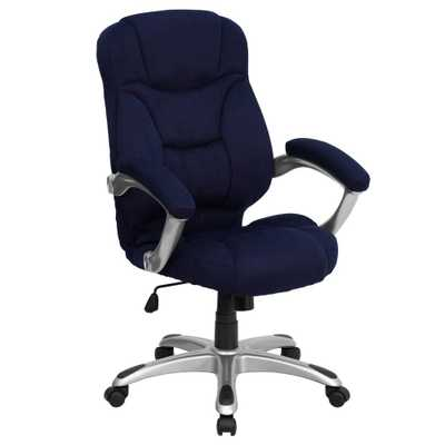 High Back Navy Blue Microfiber Contemporary Executive Swivel Office Chair - Home Depot