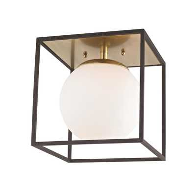 Mitzi by Hudson Valley Lighting Aira 1-Light Aged Brass and Black Small Flushmount with Opal Etched Glass and Black Accents - Home Depot