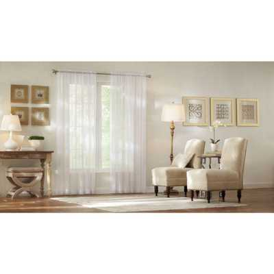 Home Decorators Collection Sheer White Sheer Voile Rod Pocket Curtain - Home Depot