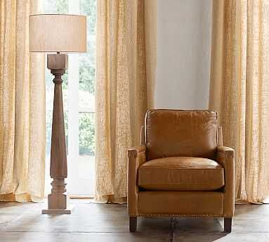 Finn Turned Wood Floor Lamp, Wood Base with X-Large Straight Sided Linen Drum Shade, Flax Linen - Pottery Barn
