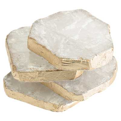John Richard Modern Classic Set Of Four Selenite Hand-Applied Gold Trim Coaster - Kathy Kuo Home
