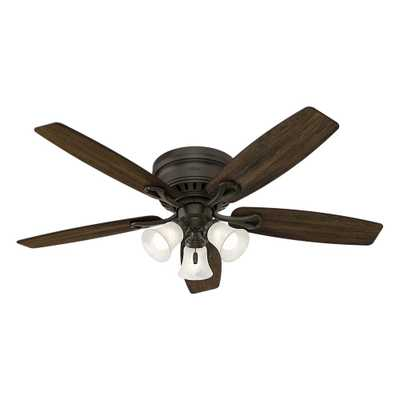 Hunter Oakhurst 52 in. LED Indoor Low Profile New Bronze Ceiling Fan with Light Kit - Home Depot