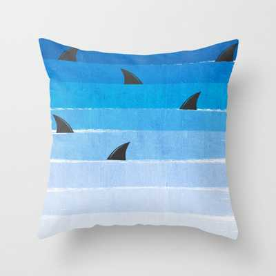 """Sharks - shark week trendy black and white minimal kids pattern print ombre blue ocean surfing Throw Pillow - Indoor Cover (16"""" x 16"""") with pillow - Society6"""