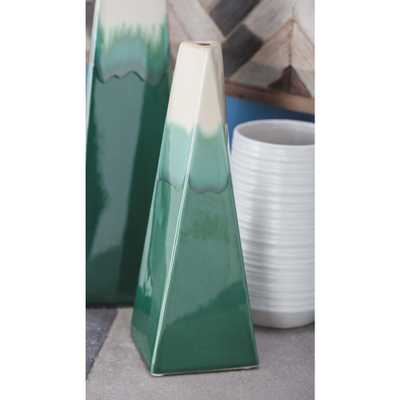 11 in. Green and White Gradients Ceramic Decorative Vase - Home Depot
