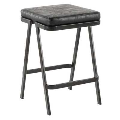 Seven 25 in. Backless Black Faux Leather Counter Stool - Home Depot