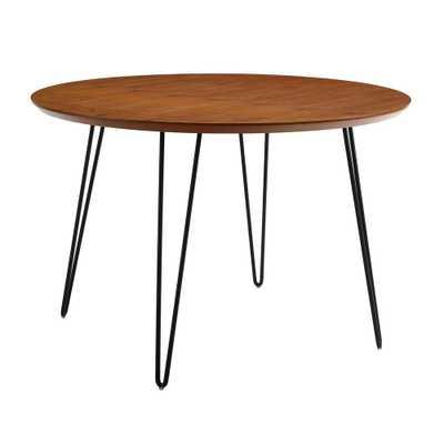 Walker Edison Furniture 46 in. Walnut (Brown) Round Hairpin Leg Dining Table - Home Depot