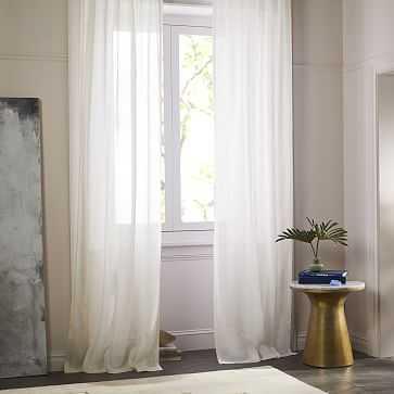 """Sheer Belgian Flax Linen Curtain,Ivory, 48""""x108"""" - West Elm"""