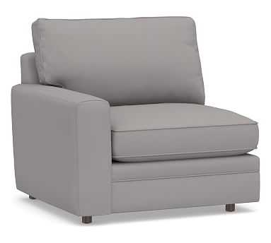 Pearce Square Arm Upholstered Left-arm Chair, Down Blend Wrapped Cushions, Performance Twill Metal Gray - Pottery Barn