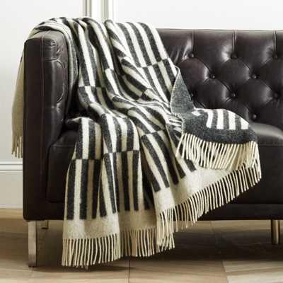 Norrebro Dark Grey Wool Blanket - CB2