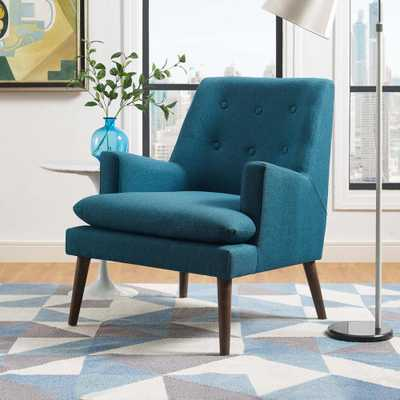 Leisure Upholstered Lounge Chair in Teal (Blue) - Home Depot
