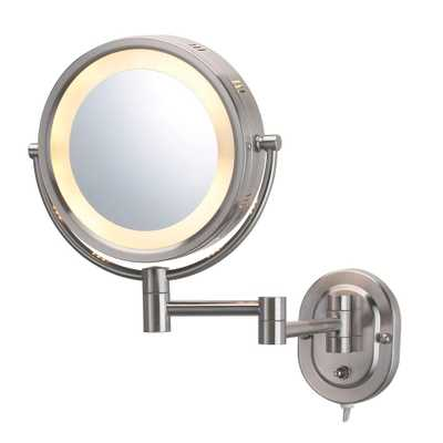SEE ALL 8 in. x 8 in. Round Lighted Wall Mounted 5X Magnification Make Up Mirror in Nickel - Home Depot