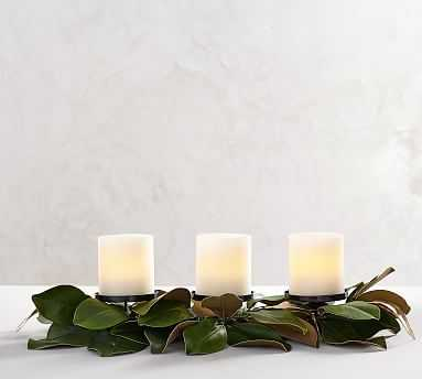 Magnolia Candle Holders, Gold & Green - Round - Pottery Barn