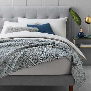 Organic Waffle Diamond Blanket, King, Midnight - West Elm