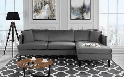 Mid Century Modern Velvet Sectional Sofa, L-Shape Couch with Hardwood Frame Grey - eBay