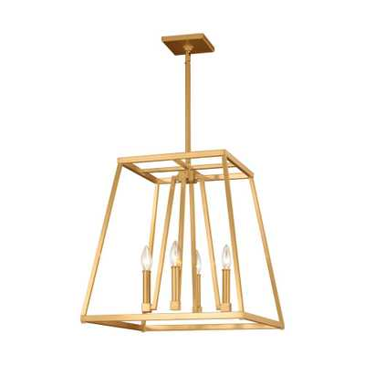 Feiss Conant 4-Light Gilded Satin Brass Chandelier - Home Depot