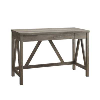 46 in. Grey Wash Rustic Farmhouse A-Frame Computer Writing Desk with Drawer - Home Depot
